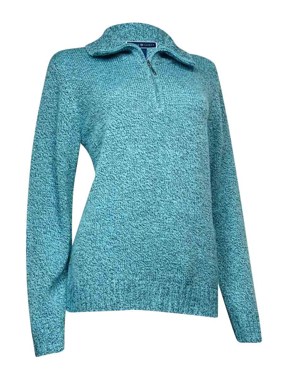 Karen Scott 1/2 Zip Mock Neck Sweater Heather Blue Large W3 | eBay