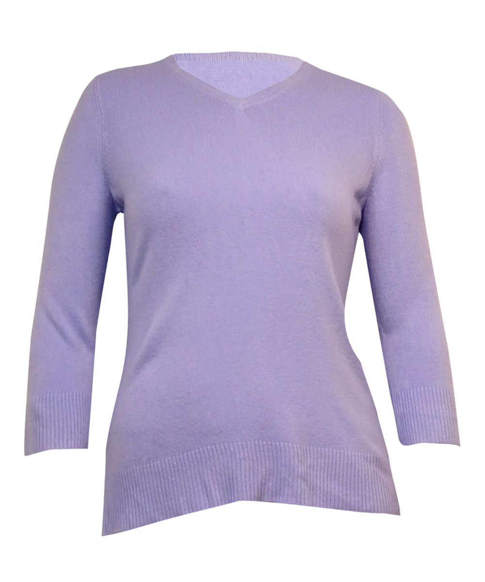 Karen Scott 5470 Womens Purple 3/4 Sleeves Solid V-neck Sweater XL ...
