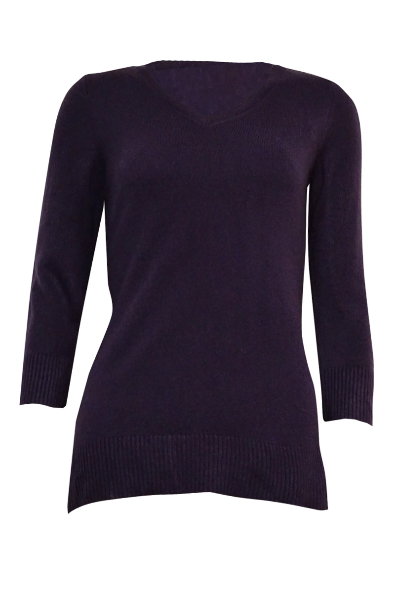 Karen Scott 2943 Womens Purple Solid Ribbed Trim V-neck Sweater XL ...