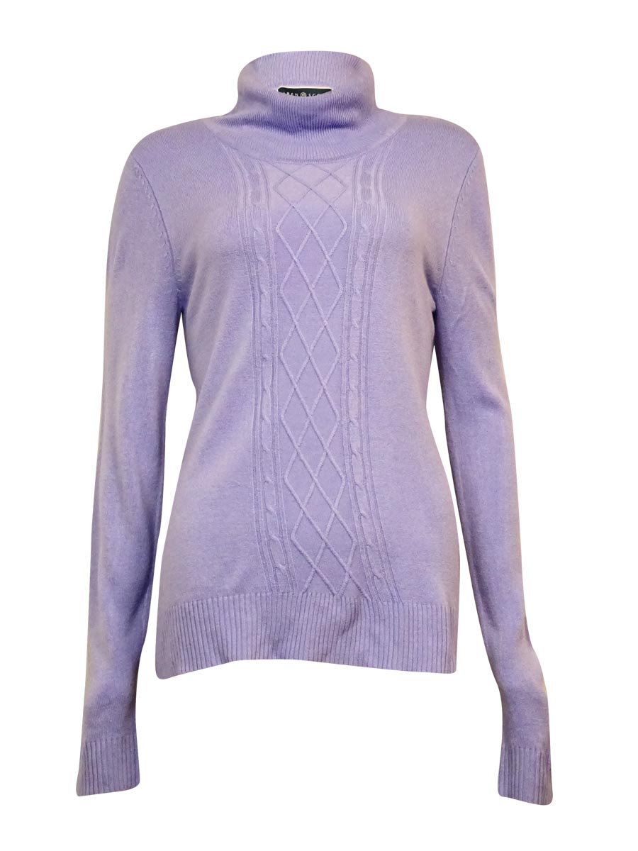 Karen Scott 4498 Womens Purple Cable Knit Long Sleeves Turtleneck ...