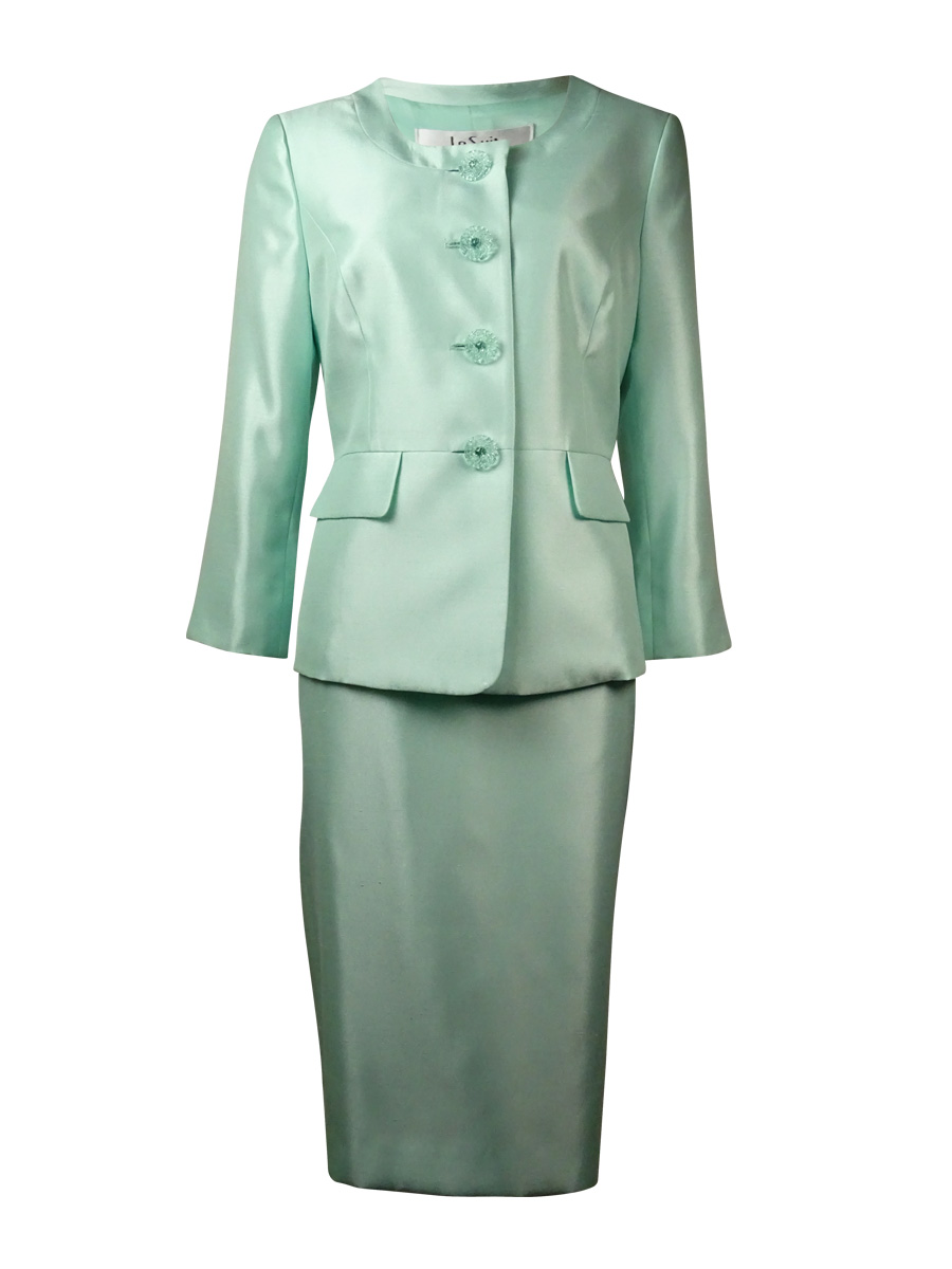 Le Suit 6563 Womens The Hamptons Green Shantung 2pc Skirt Suit 4