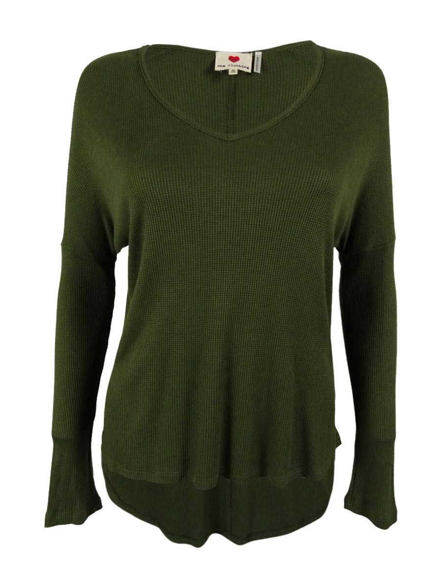 One Clothing 6283 Womens Green Thermal Hi-low Tunic Top Shirt ...