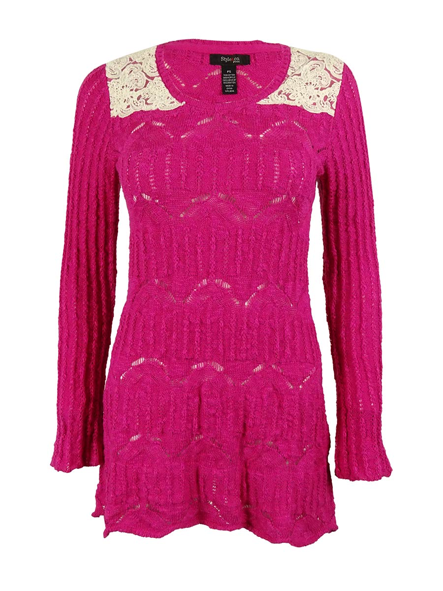 Style & Co. Petite Womens Lace Tunic Sweater Sz PS Pink White Two ...