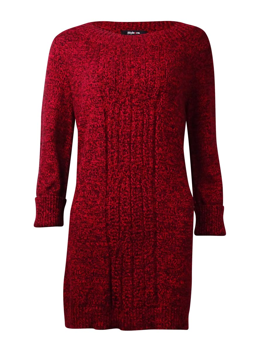 Style & Co. 6489 Womens Red Cable Knit Marled Tunic Sweater Plus ...