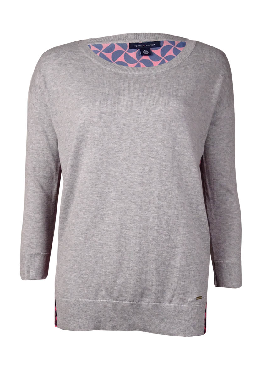 Tommy Hilfiger 7023 Womens Gray Printed Crew Neck Pullover Sweater ... 657f801b9e