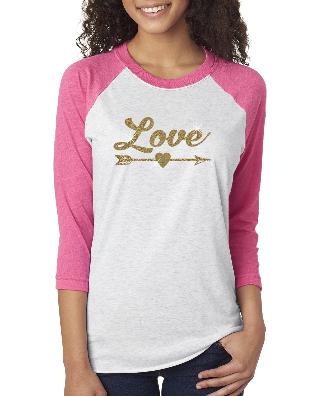 Love Gold Glitter Arrow Valentine Womens 3 4