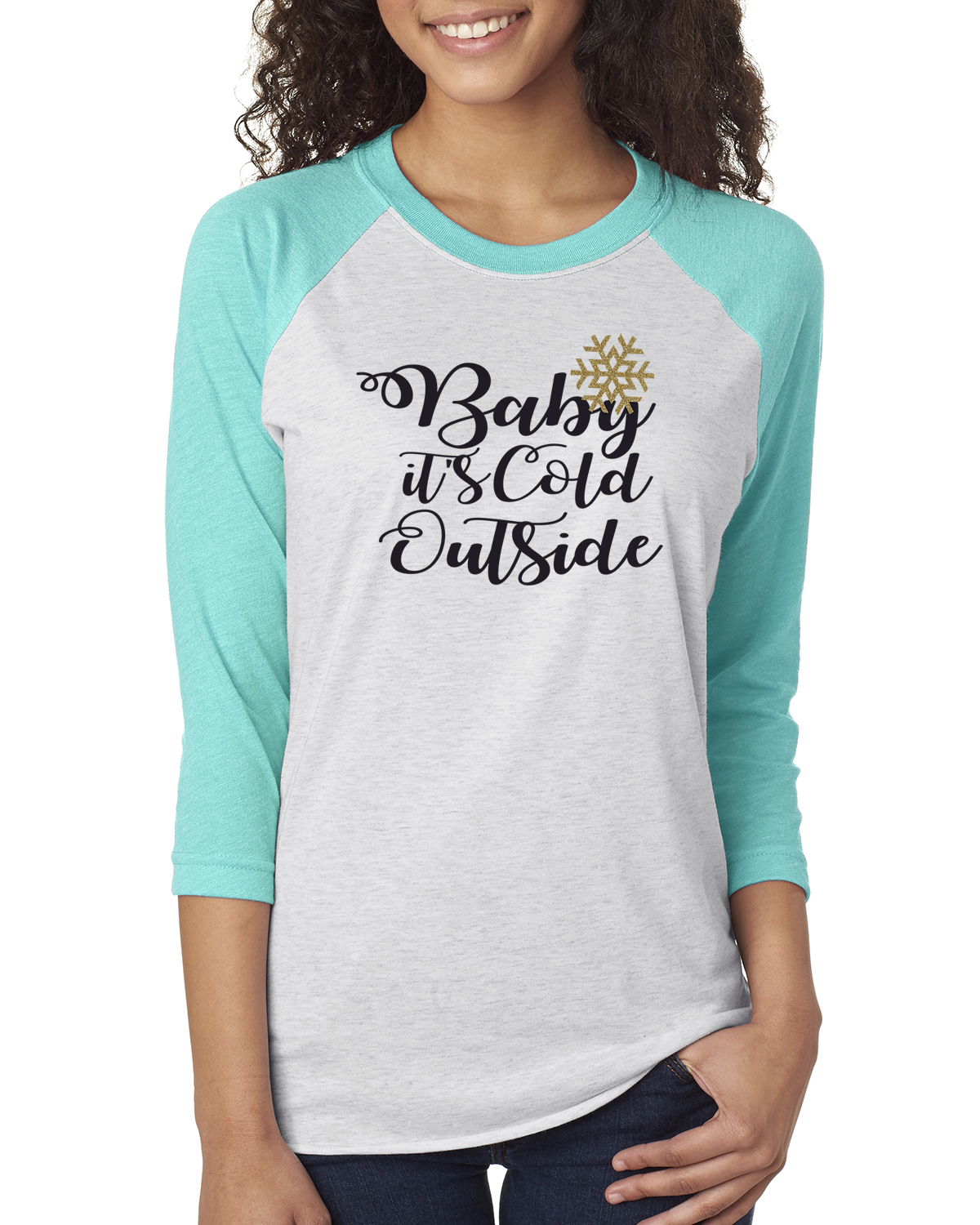 Baby It S Cold Outside Christmas Winter Womens 3 4 Raglan