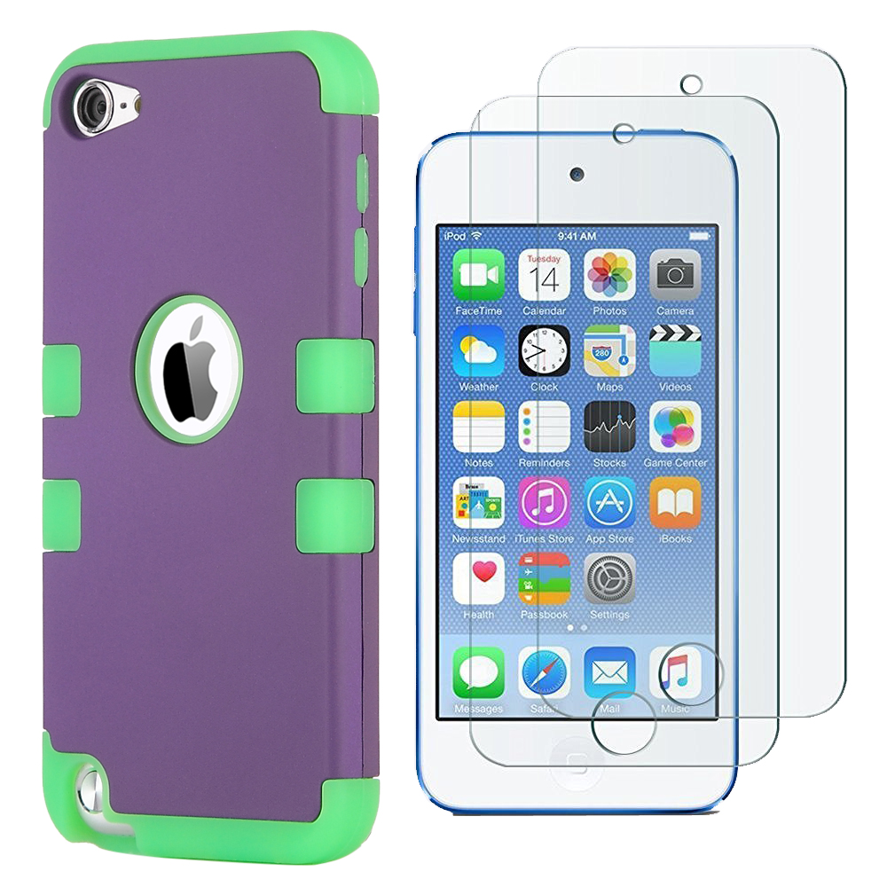 Apple-iPod-Touch-5-6th-Gen-Case-Hybrid-High-Impact-Armor-Hard-amp-Soft-Rubber-Cover thumbnail 30