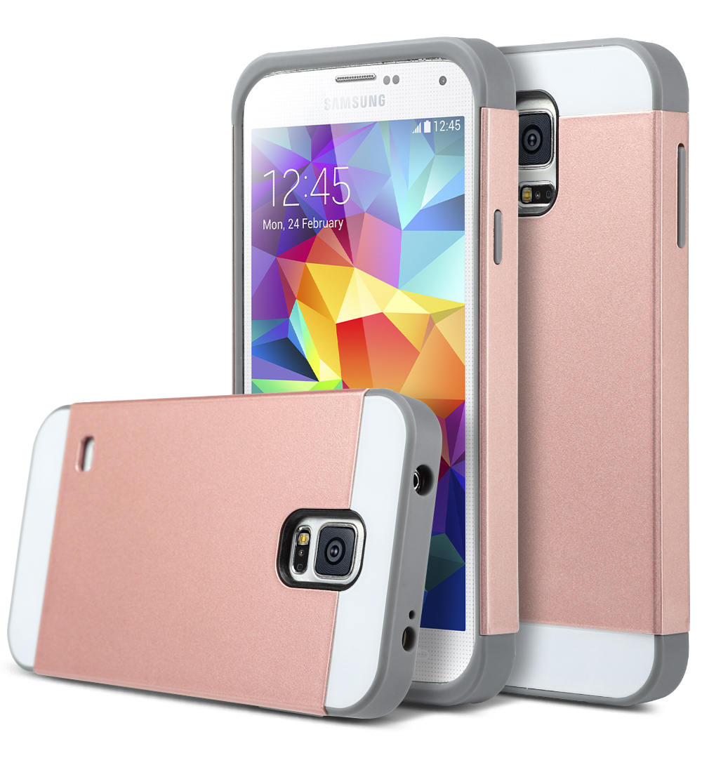 Rose Gold Shockproof Rugged Hybrid Hard Cover Case For Samsung Galaxy S5 I9600