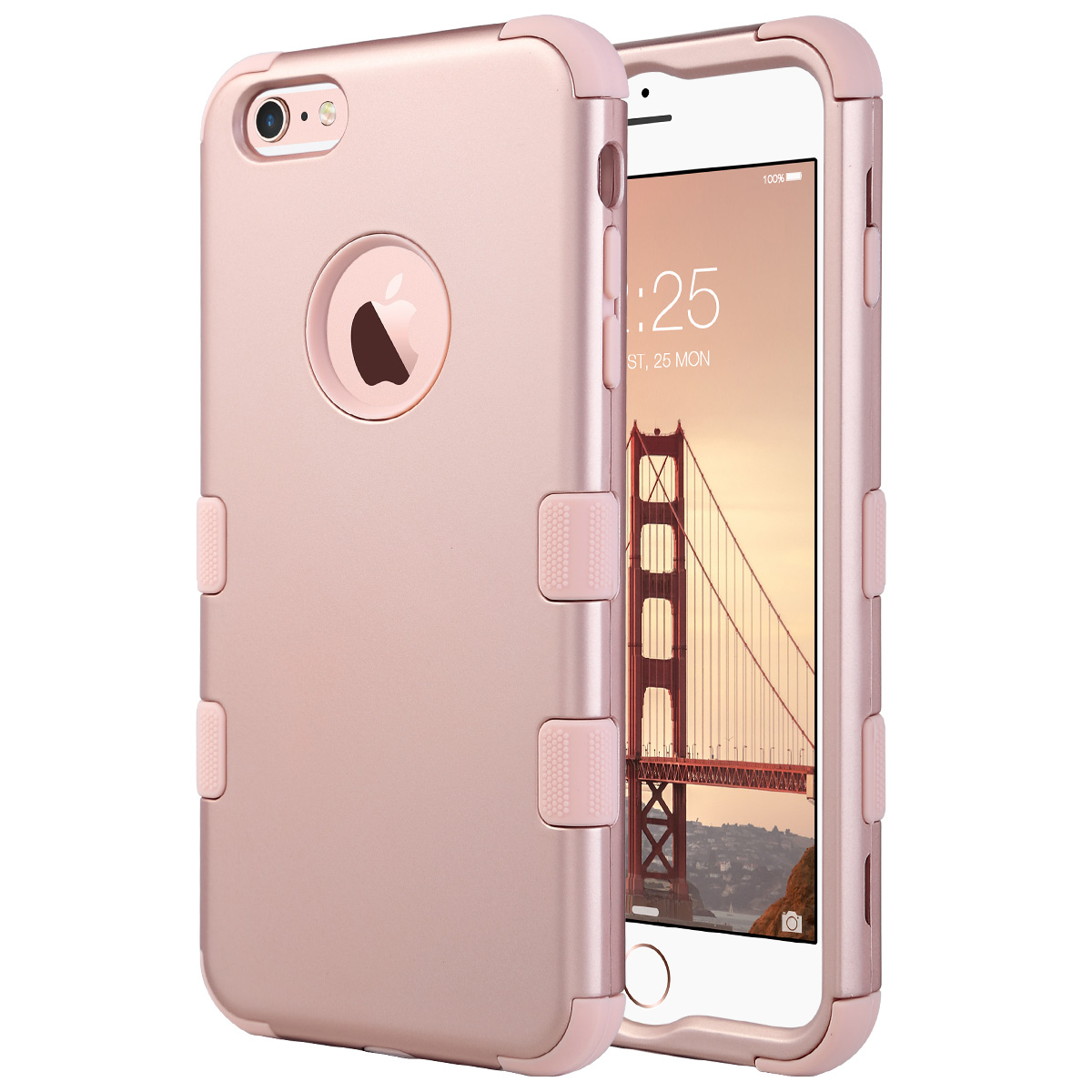 for iphone 6 plus 6s plus rose gold hybrid heavy duty. Black Bedroom Furniture Sets. Home Design Ideas
