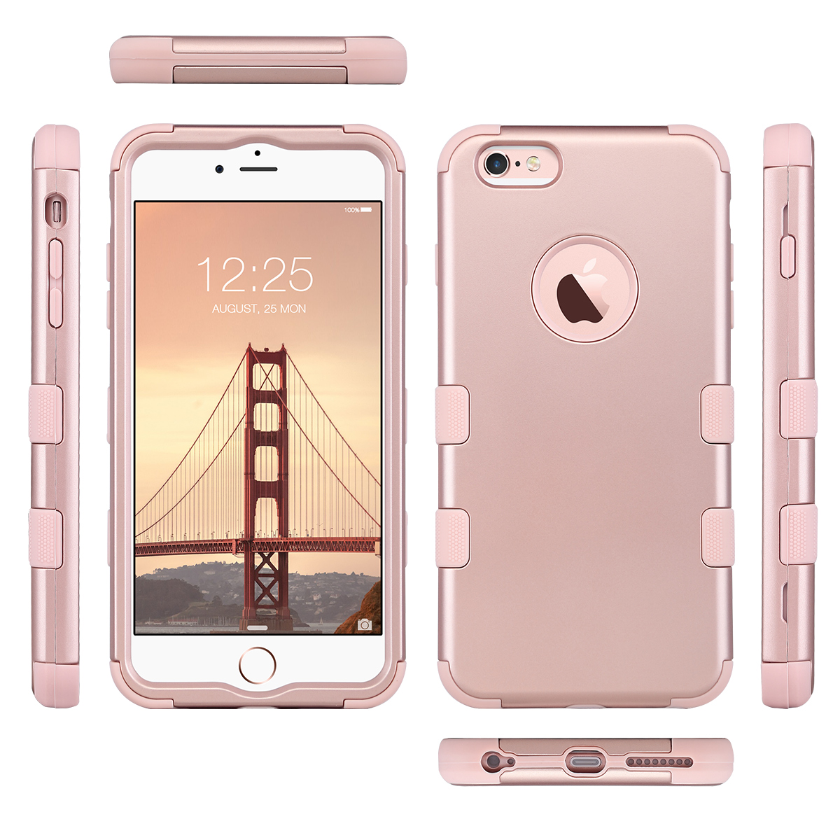 iphone case rose gold for iphone 6 plus 6s plus gold hybrid heavy duty 7697