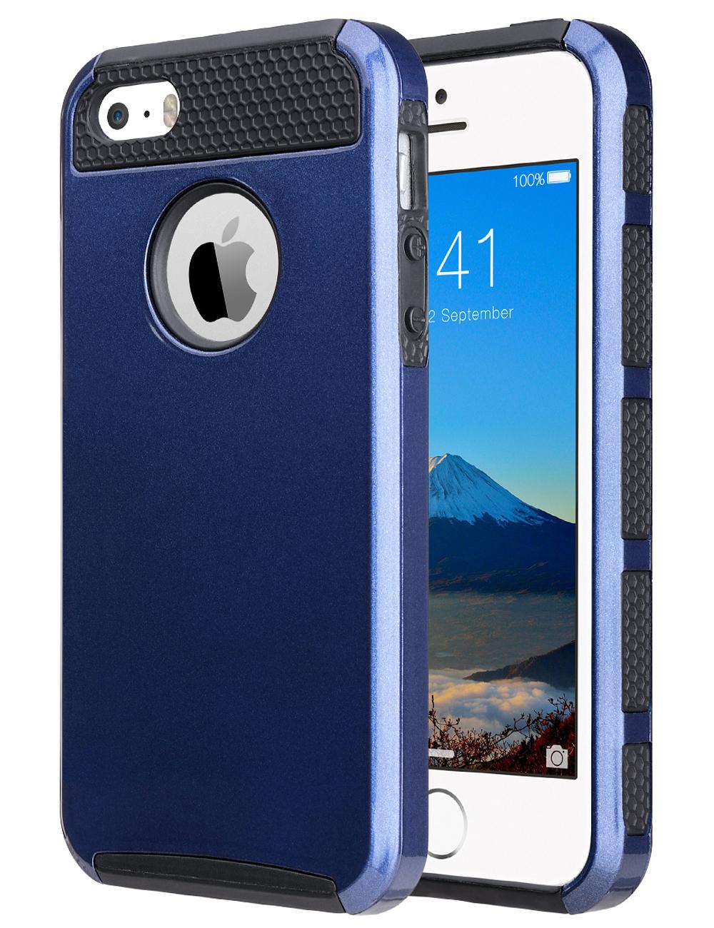 shockproof rugged hybrid rubber hard cover case for iphone 5s 5 se