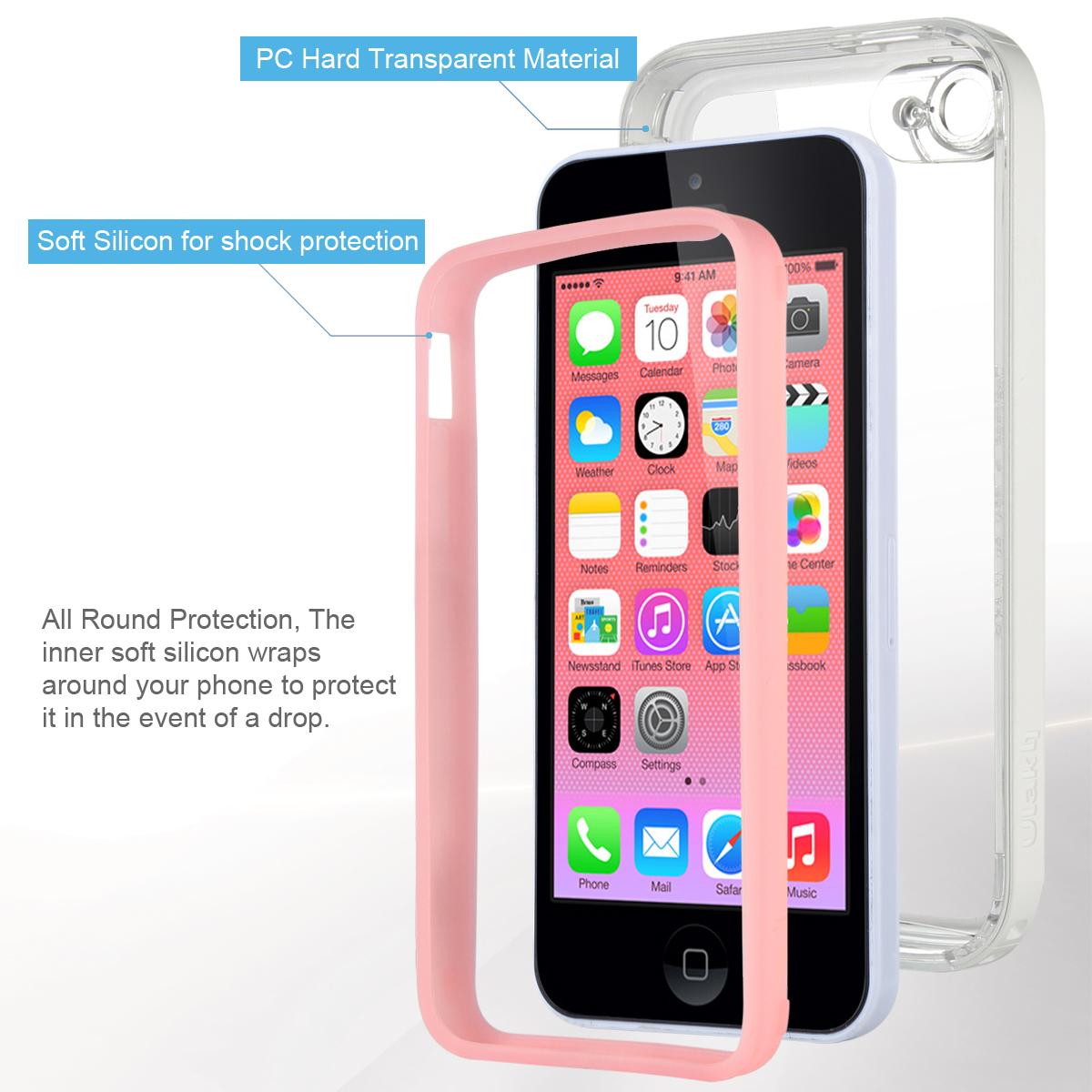 For Apple iPhone 5C Heavy Duty Hybrid Clear Hard Case ...