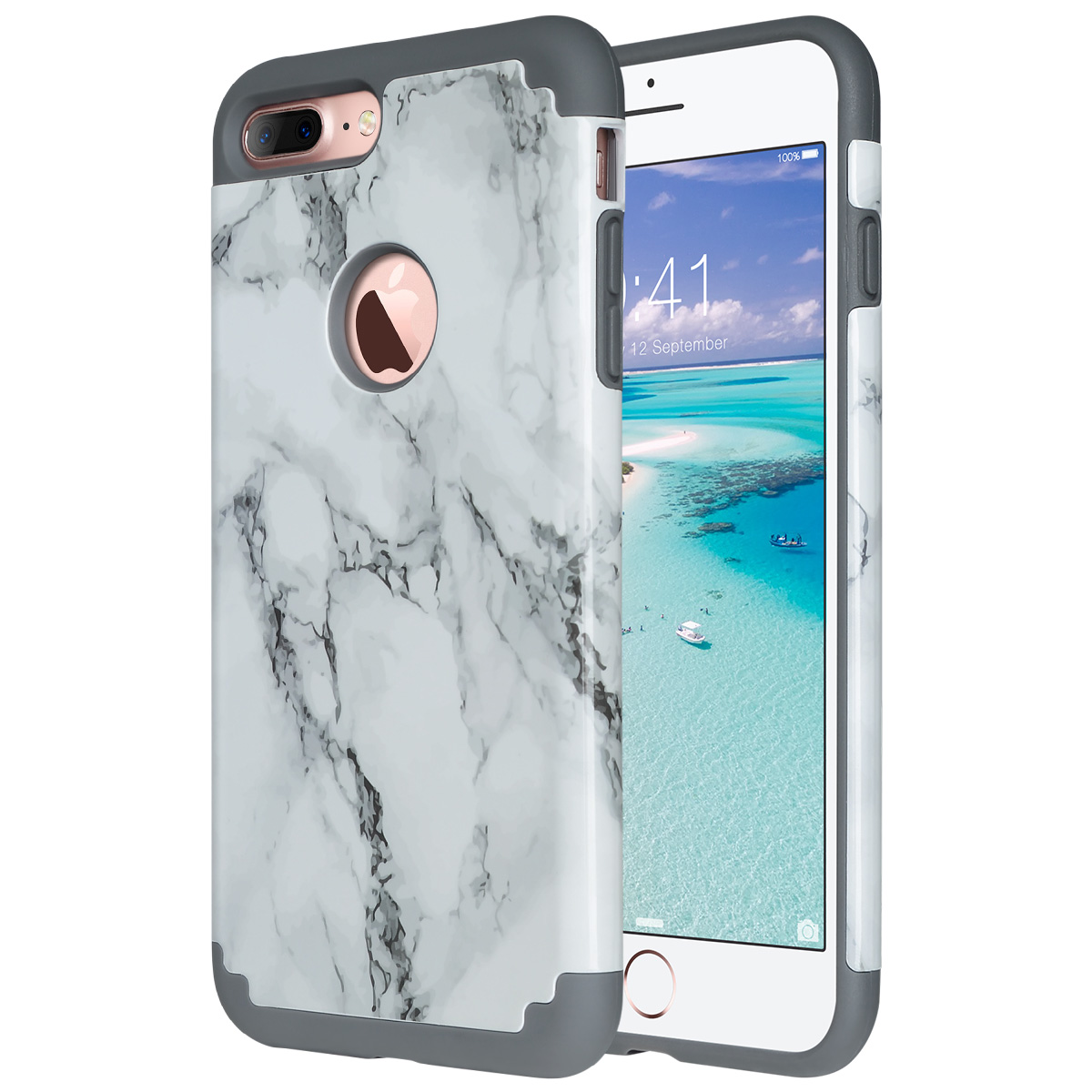 ULAK Marble Case for Apple iPhone 8 7 6S 6 Plus Rubber Protect ... fb61273b69