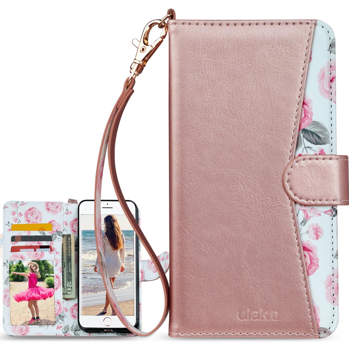 "iPhone 8 7 Plus 5.5"" Case ULAK PU Leather Wallet Case w/ Car"
