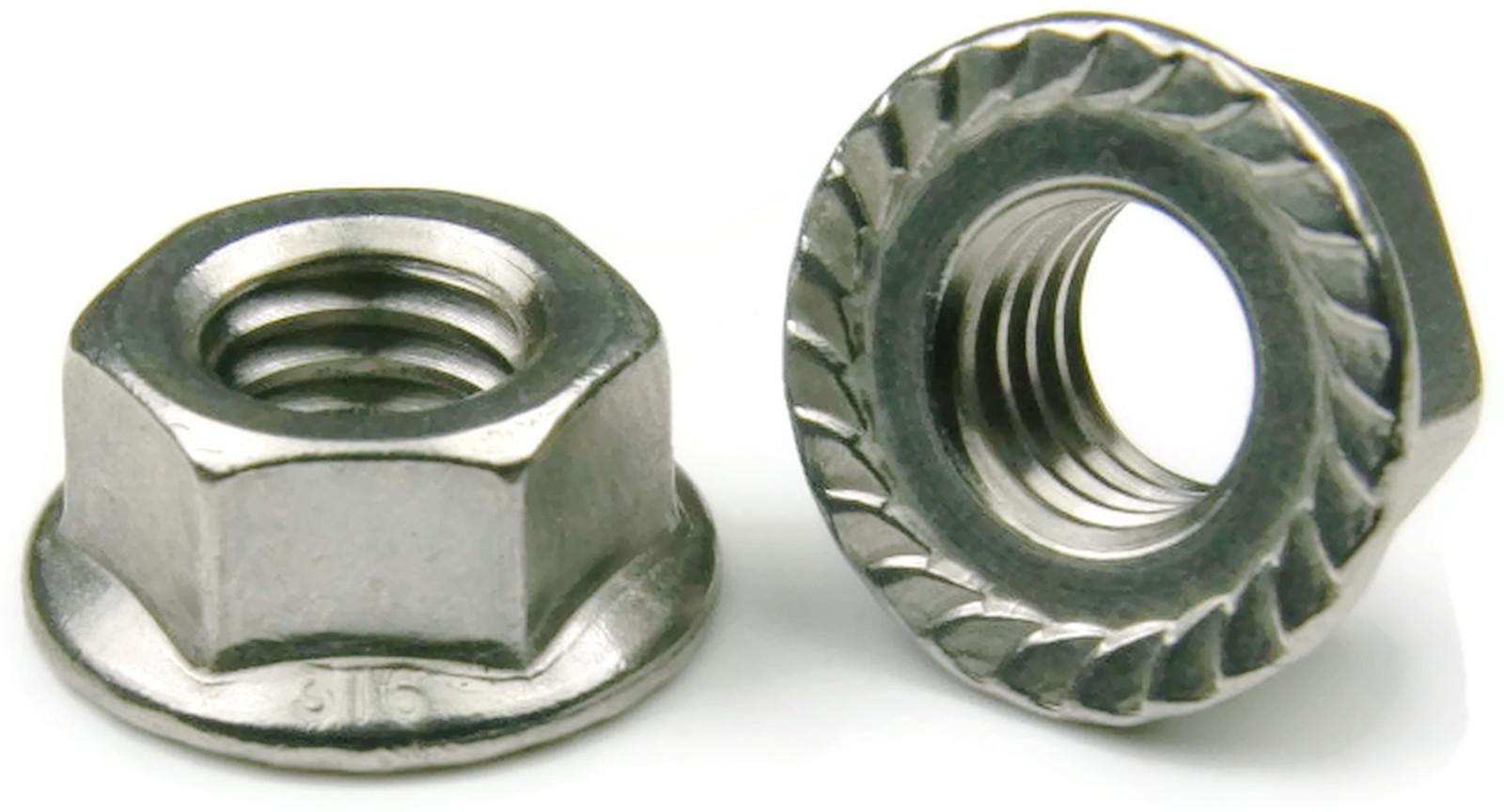 316 Stainless Steel Hex Serrated Flange Lock Nut Unc 10