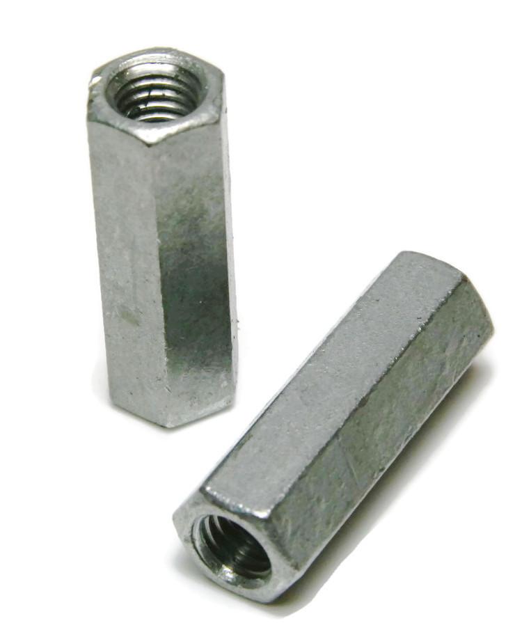 """5//16/""""-18 x W1//2/"""" x L 1 3//4/"""" Coarse Grade A Hex Rod Coupling Nut Zinc Qty 100"""