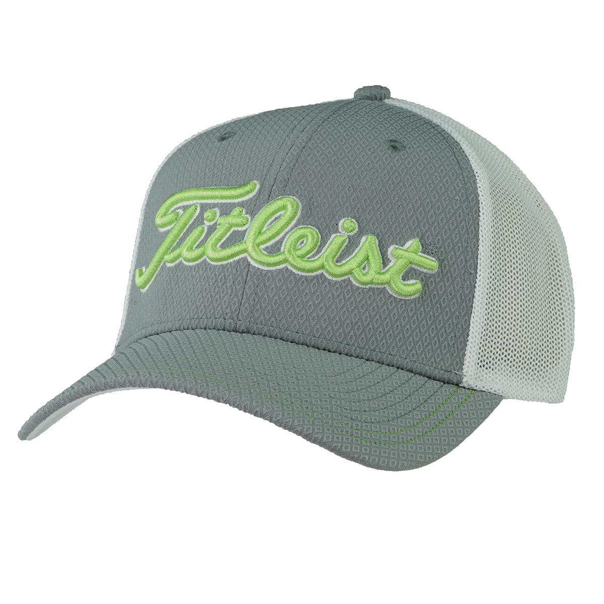 23907e9b Details about Titleist Men's Mesh Canvas Trucker Hat Grey/Lime Green S/M