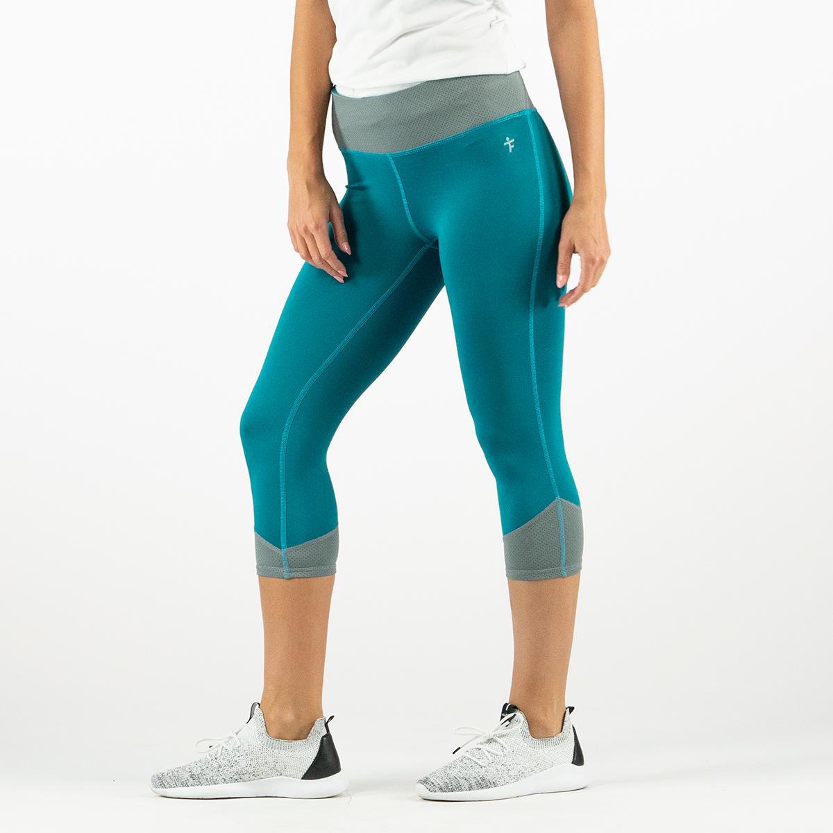 b7b9b945a60154 Tru Fit Women's Fitness Capri Leggings w/ Mesh Waistband Teal/Grey ...