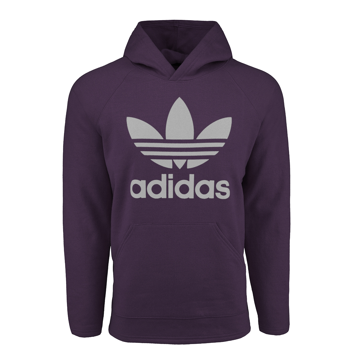 adidas Men s Originals Trefoil Hooded Sweatshirt Violet Grey L ... 4905e3fe793