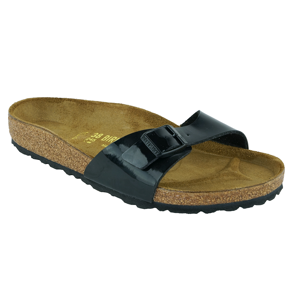 Details about Birkenstock Madrid Birko Flor Sandals Black Patent 37