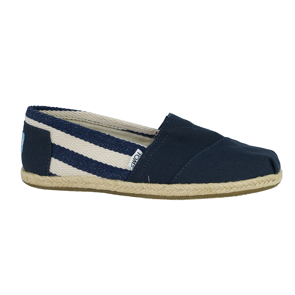 717b23763d3 Details about TOMS Women s Classics Alpargata Slip-on Shoes Navy Stripes 6.5