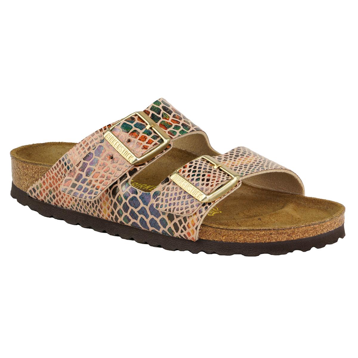 0e6b11f2626e Details about Birkenstock Arizona Birko-Flor Sandals Shiny Snake Sand 38 N