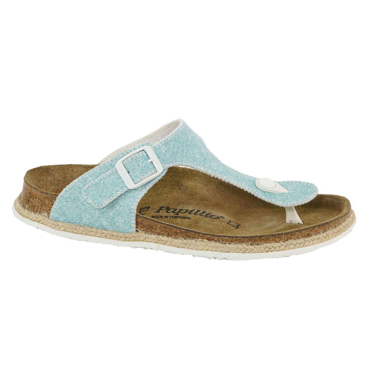 Details about Birkenstock Papillio Women's Gizeh Sandals Birko Flor Beach Light Blue 36