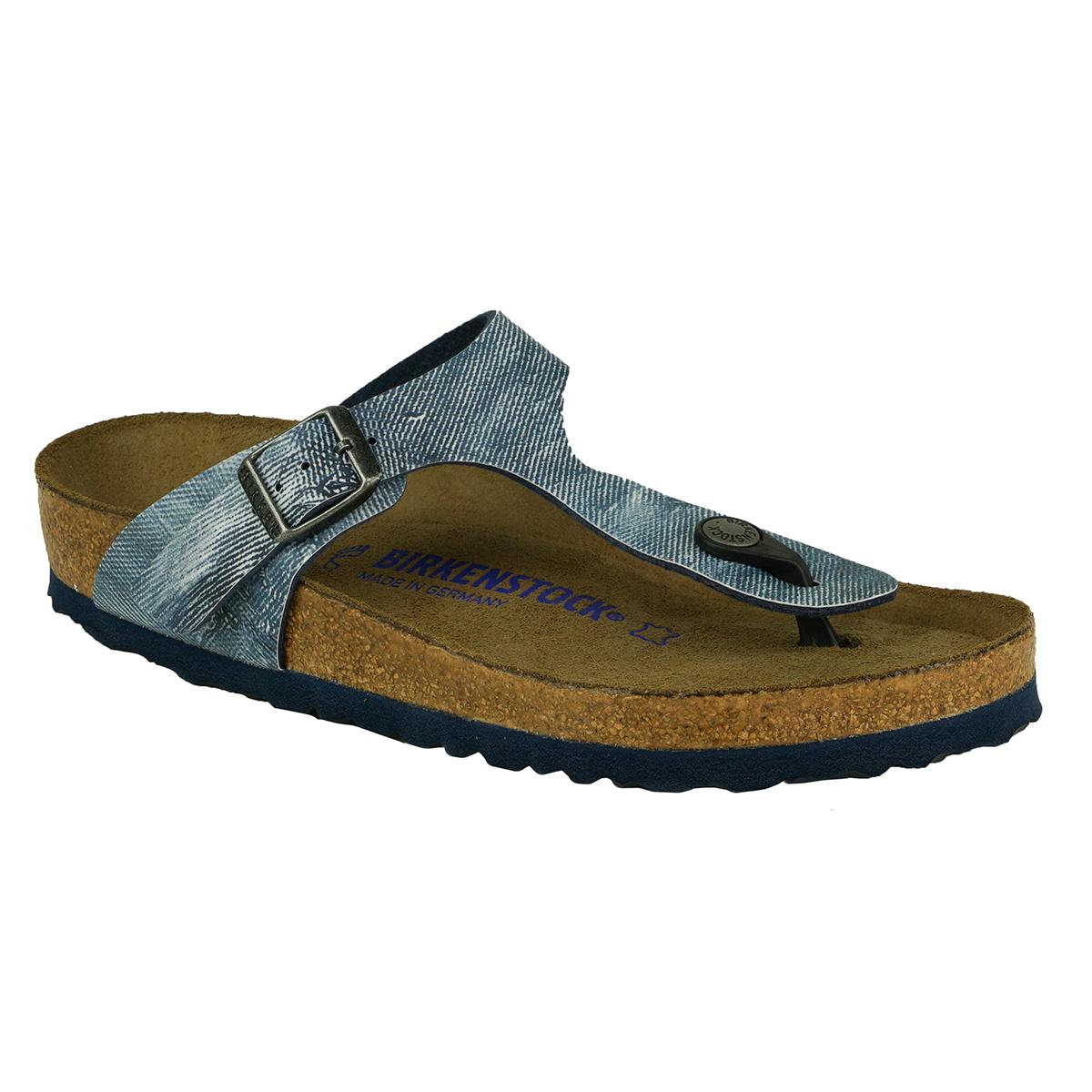 fde1452743a46 Details about Birkenstock Gizeh Soft Footbed Birko-Flor Sandals Jeans  Washed Out Blue 37