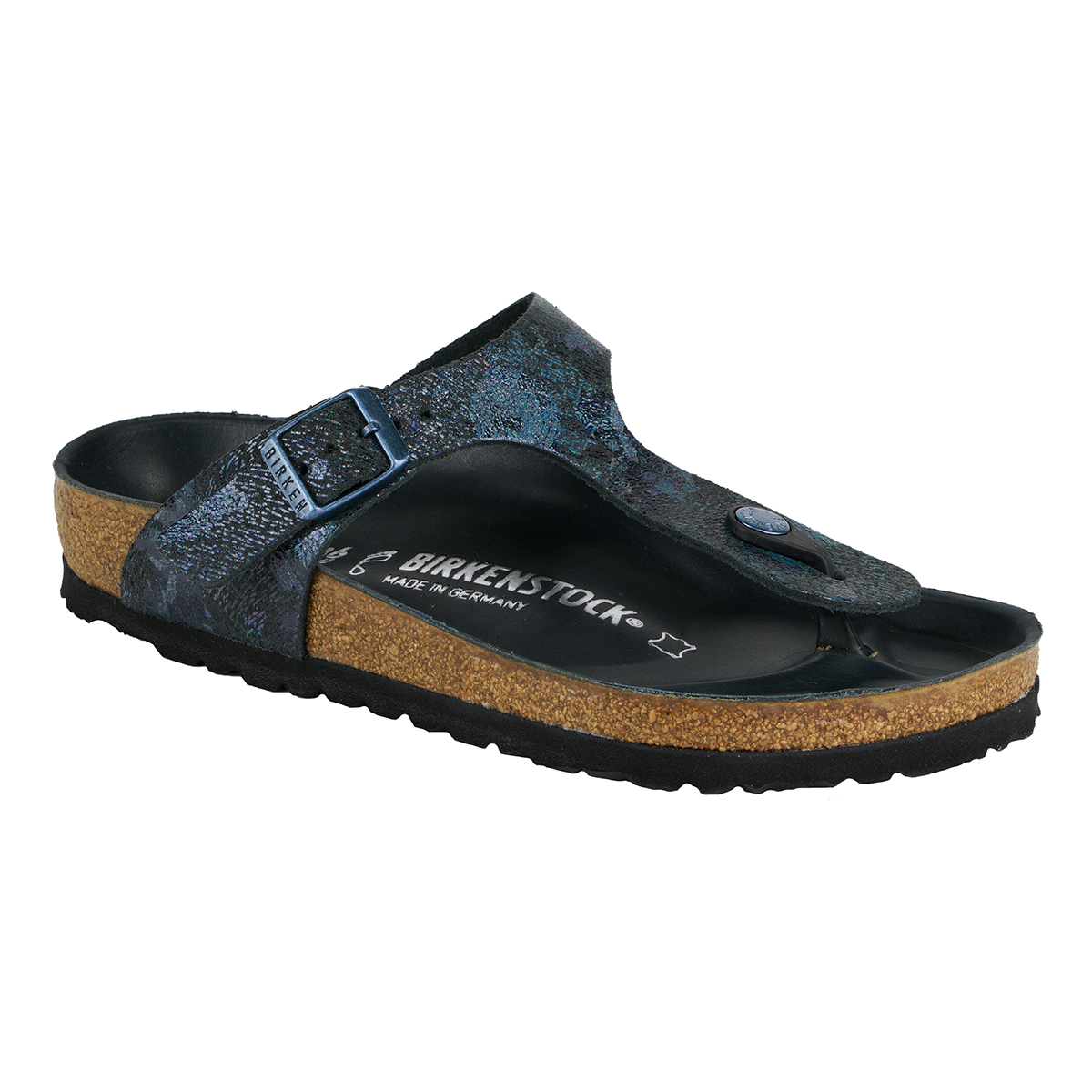 1bf3e9d6be10 Details about Birkenstock Gizeh Natural Leather Sandals Spotted Metallic  Black 37 N