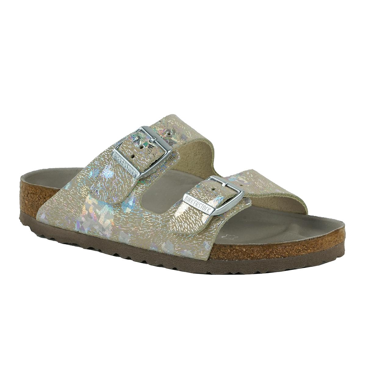 6f46046a1b2e Birkenstock Arizona Leather Sandals Metallic Silver 38 886925859813 ...