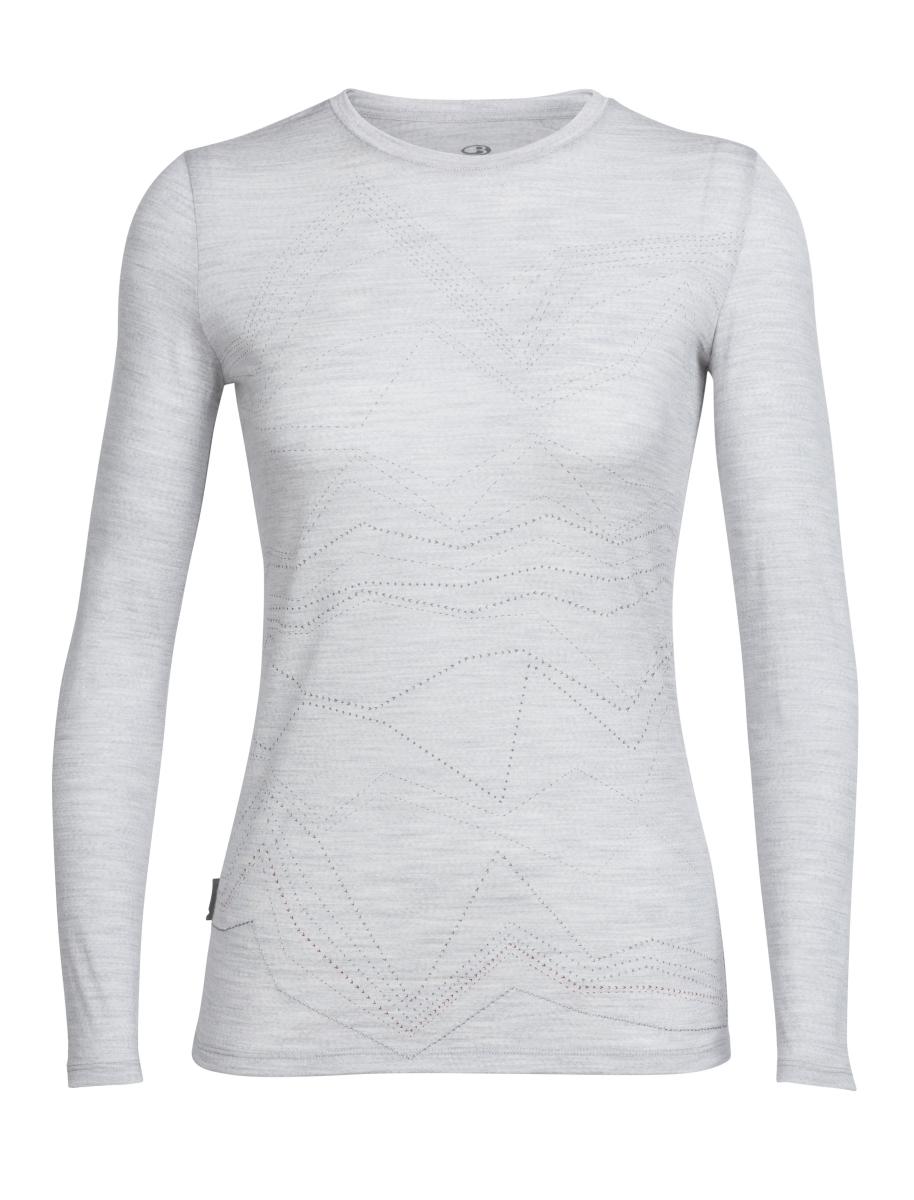 debe3d95312 Icebreaker Women's Merino Tech Lite L/S Crewe Shirt Mountain Threads  Blizzard Heather S