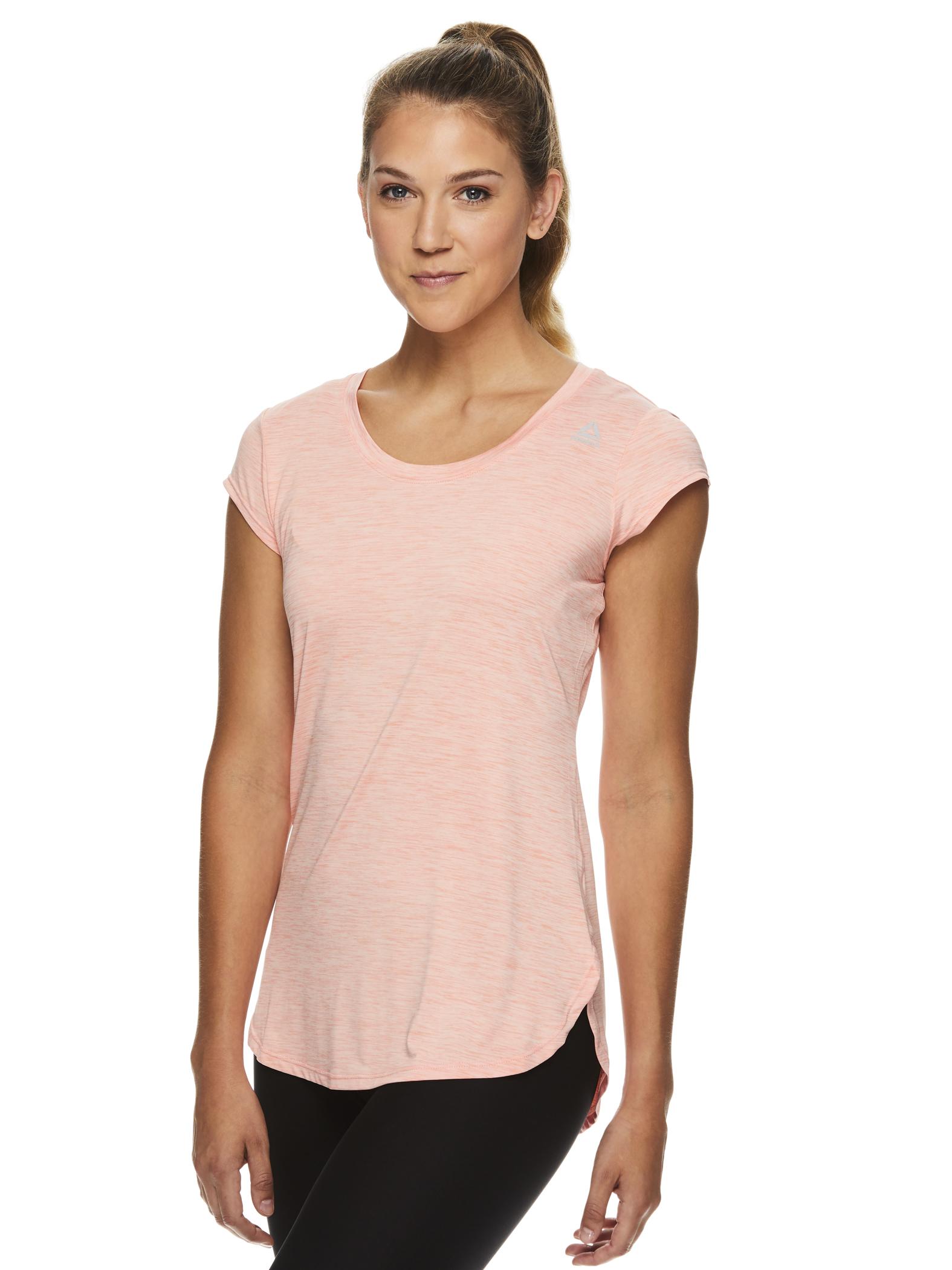 Reebok Women/'s Legend Performance Linear Marled Jersey T-Shirt Coral Heather L