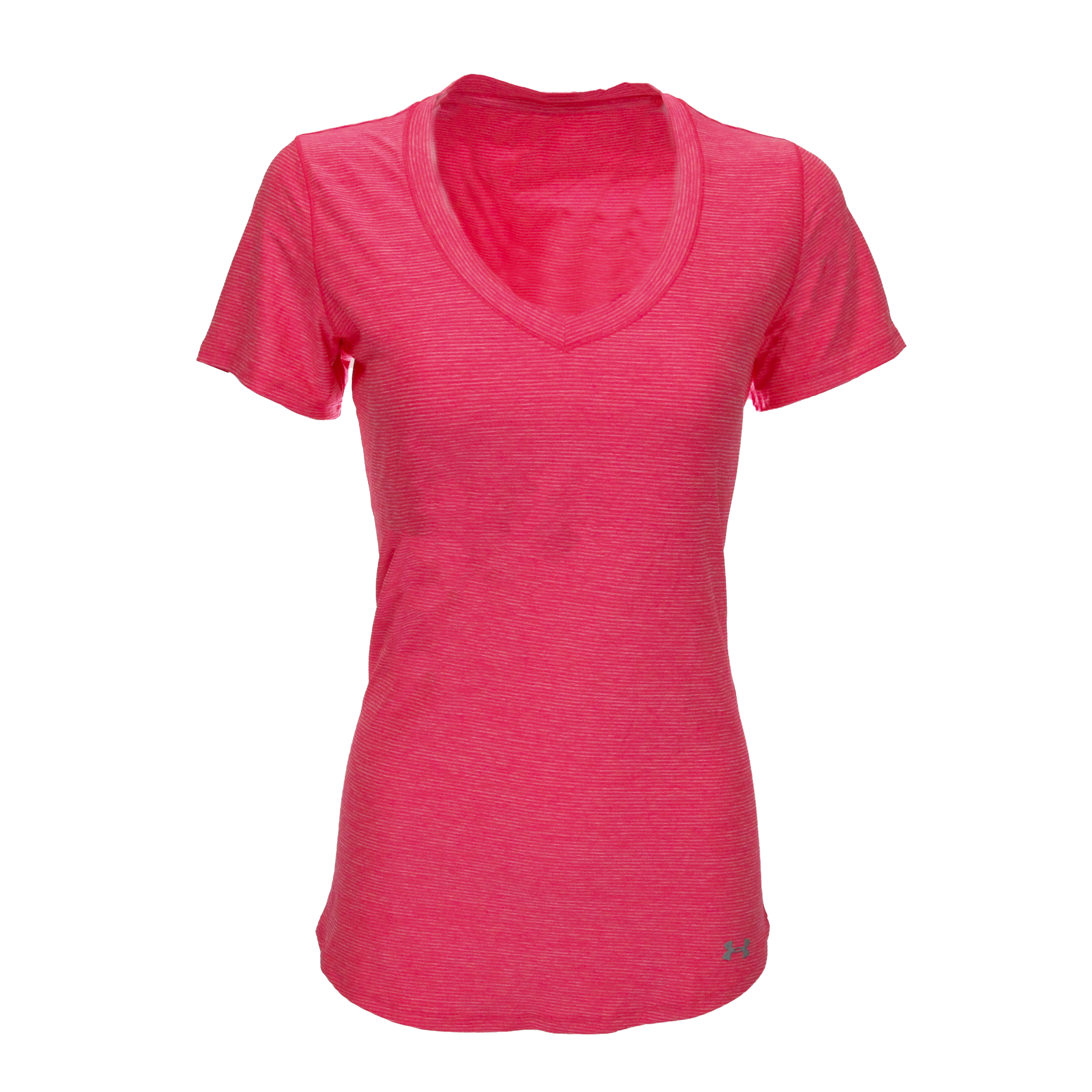 Details about Under Armour Women s UA Perfect Pace V-Neck T-Shirt Neon Pink Steel  S b9bbaeb85d