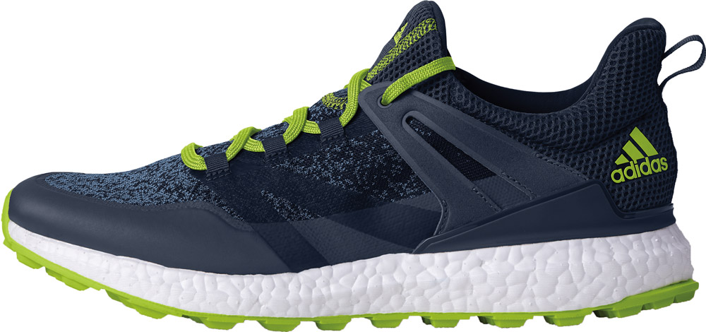 official photos 046f3 cb2c0 Details about Adidas Crossknit Boost Golf Shoes Q44685 Collegiate Navy Solar  Lime Mens New