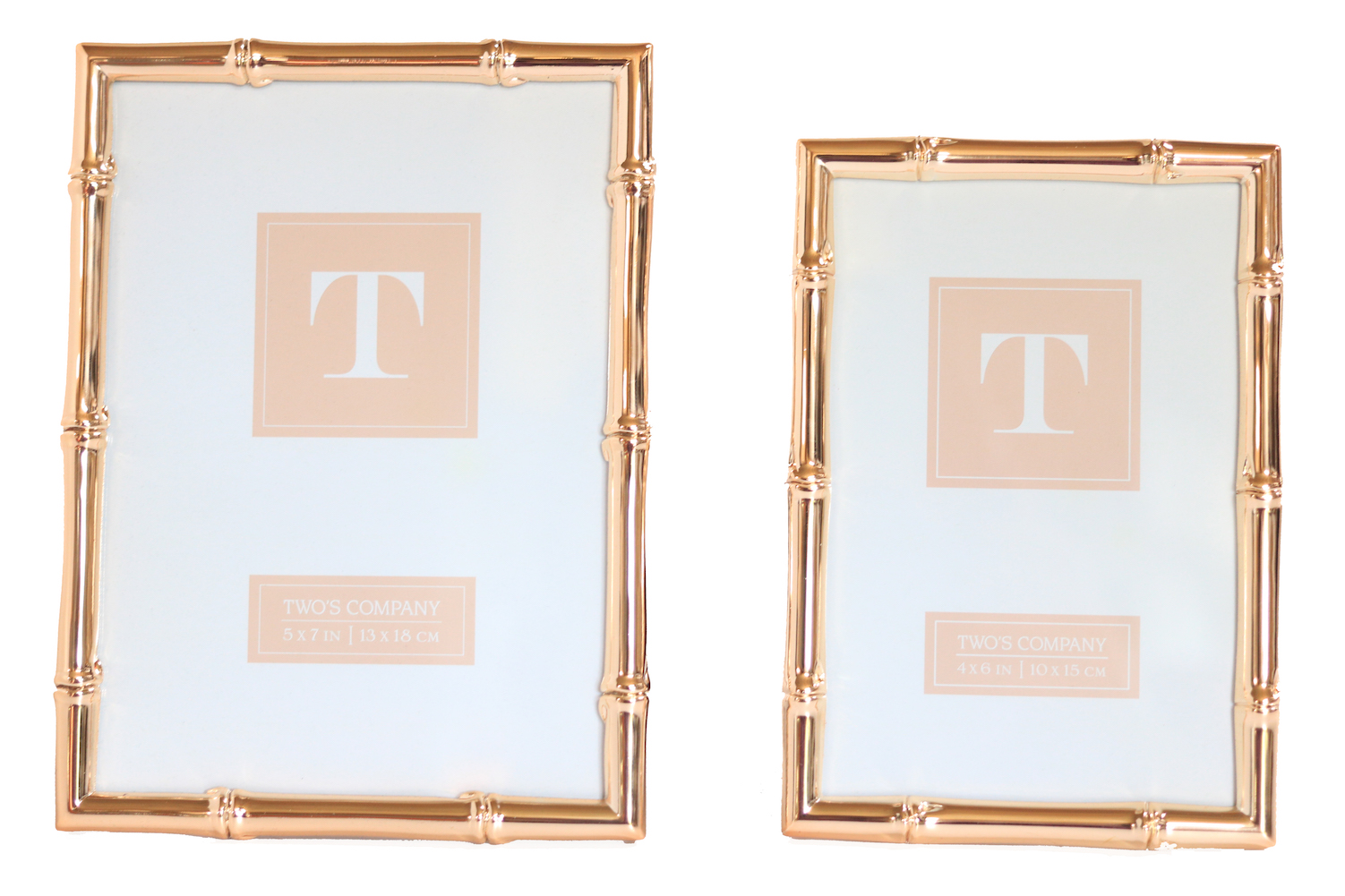 Two\'s Company - 4x6 & 5x7 Bamboo Frame Set - Rose Gold 635648706078 ...