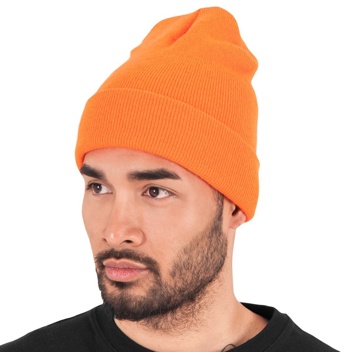 ec1f0aad86a Heavyweight Long Beanie Urban Classics Flexfit Hat Yupoong Blaze Orange.  About this product. Picture 1 of 4  Picture 2 of 4  Picture 3 of 4 ...
