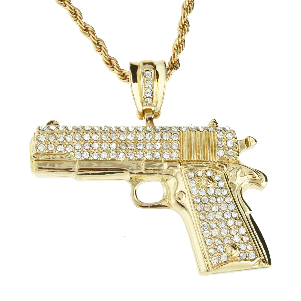 Iced Out Bling Hip Hop Chain PISTOL gold eBay