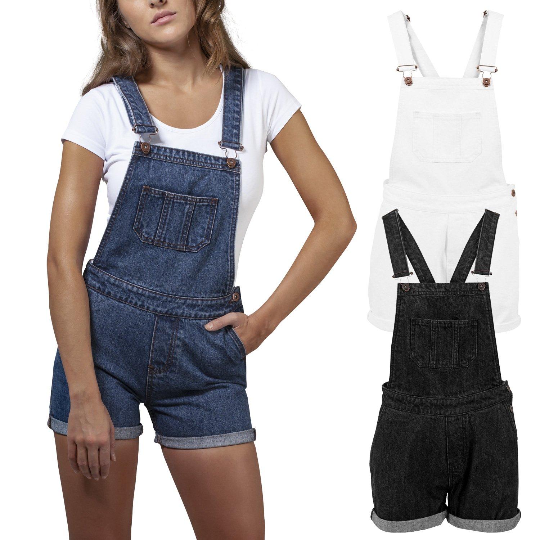 Urban Classics Ladies - Short Dungaree Denim Jeans Latzhose   eBay