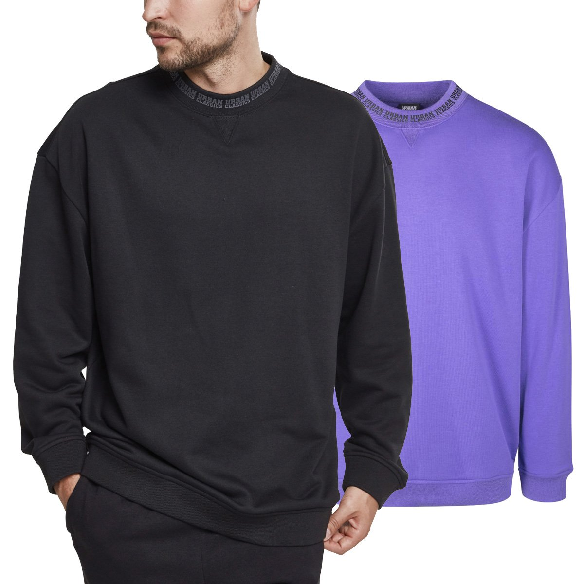 Details about Urban Classics Oversize Logo Sweat Terry Pullover