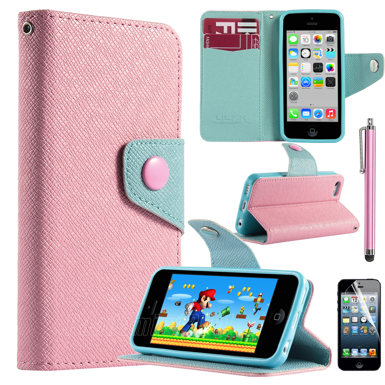 cute cases for iphone 5c hybrid card holder flip pu leather wallet cover 16848