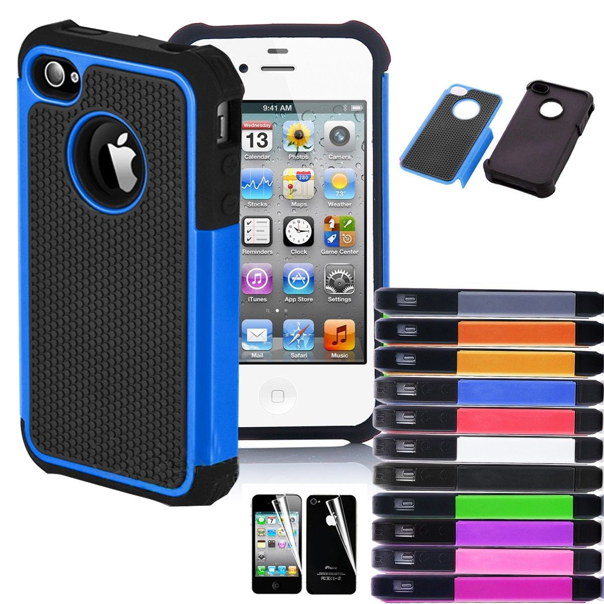 best iphone 4s case for iphone 4 4s black rugged rubber matte cover 13591