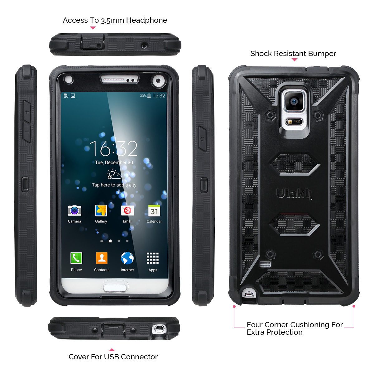 Ulak Knox Armor Hybrid Rugged Shockproof Case Cover For