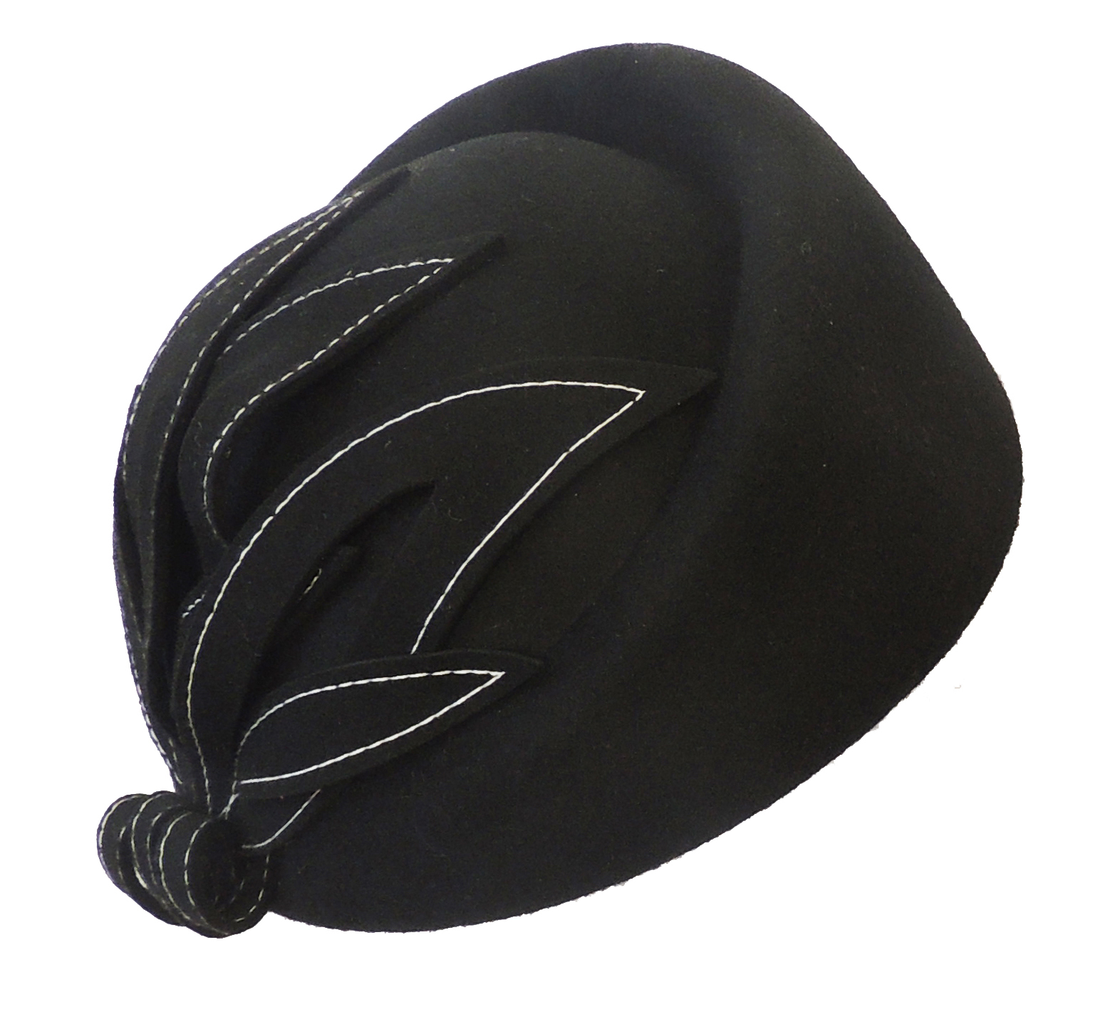 1940s Hats History    New Vintage 1940s 50s style Elegant Felt Appliqué Cloche Hat $29.99 AT vintagedancer.com