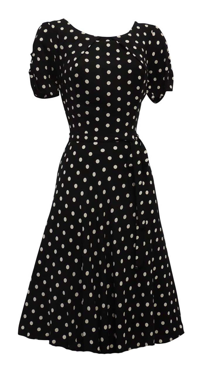 Polka Dot Dresses: 20s, 30s, 40s, 50s, 60s    New Ladies Polka Dot WWII 1930s/40s Vtg style Wartime Swing Tea Dress $24.99 AT vintagedancer.com