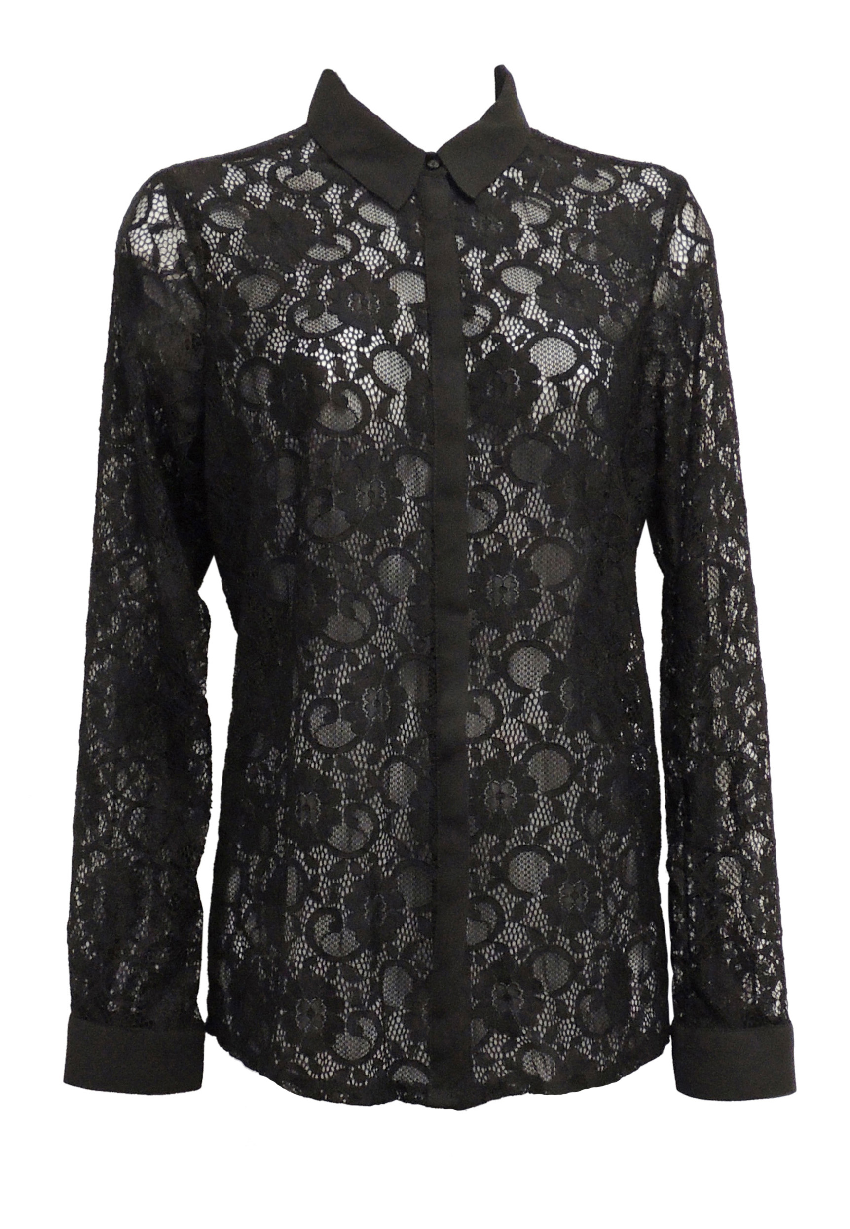 a48d71aa38b Details about New Ladies Black Vintage Style Sheer Lace-Look Shirt Blouse  UK 8-20