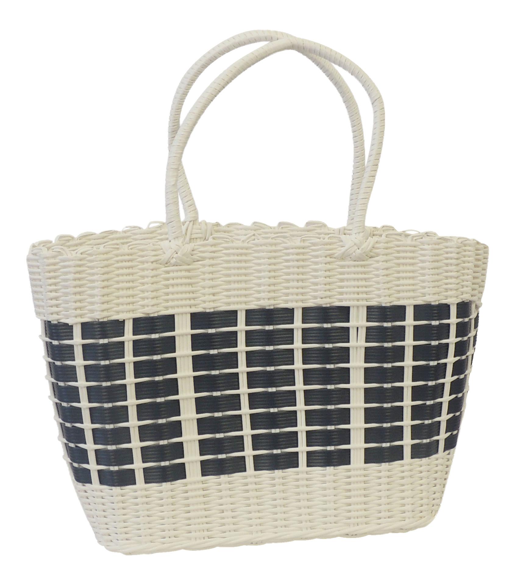 Vintage Retro Style Shopping Basket Beach Grocery Plastic Woven Storage Bag New