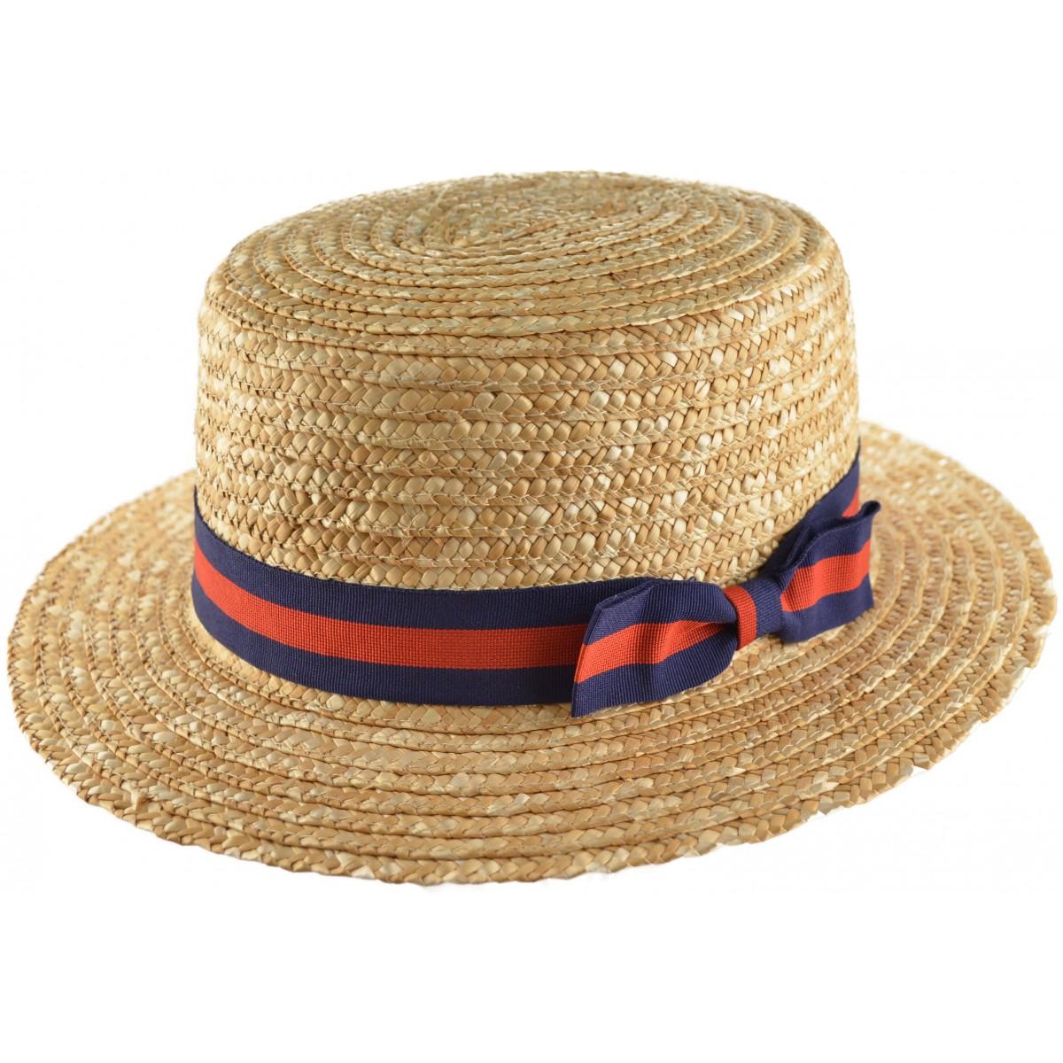 New Stripe Trim Straw Summer Boater Hat 1920 s 30 s 40 s Vintage ... 8dbc3cca9f45