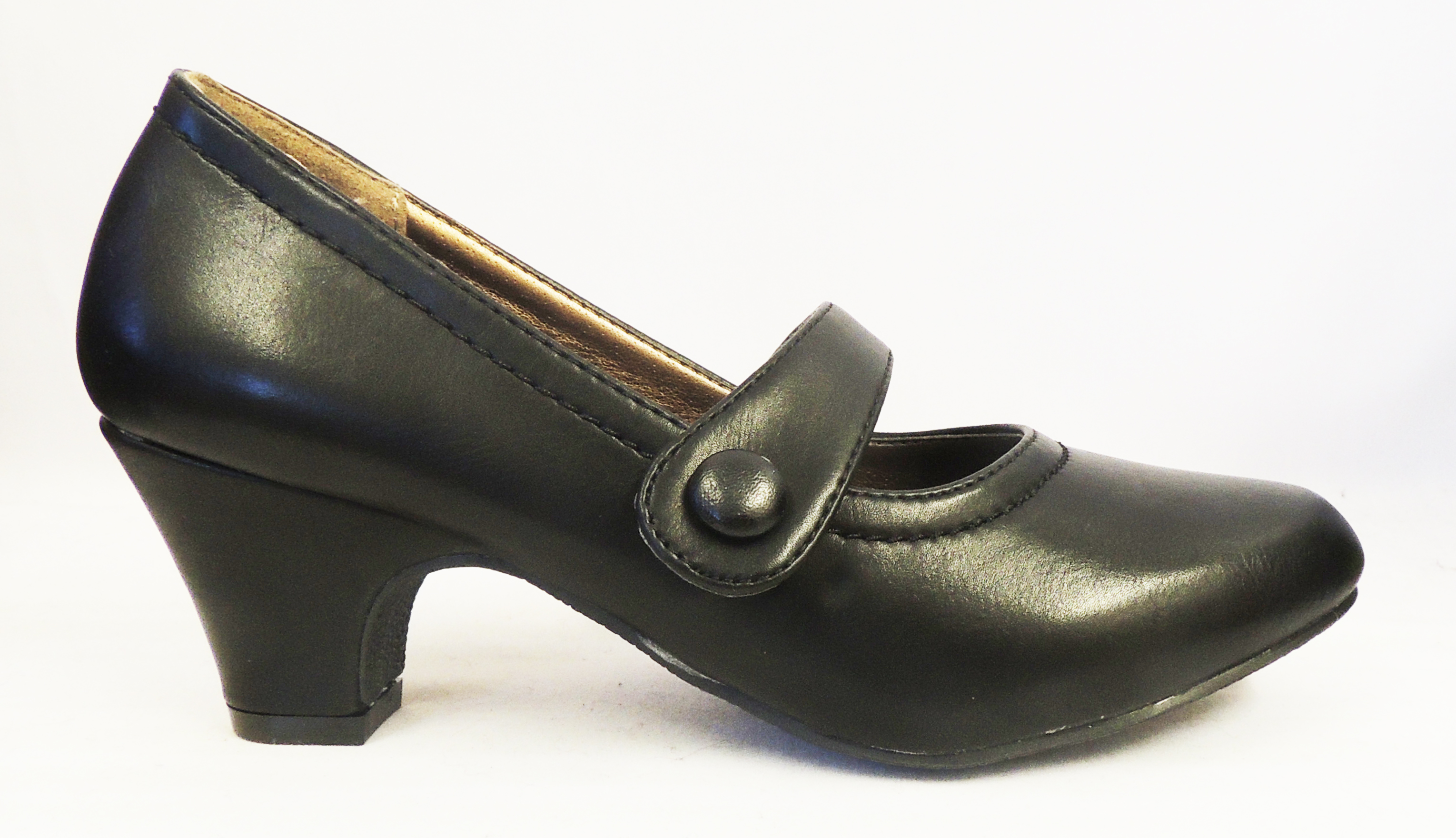 New-Vintage-style-1930-039-s-1940s-WW2-Wartime-Black-Mid-Heel-Mary-Jane-Court-Shoes