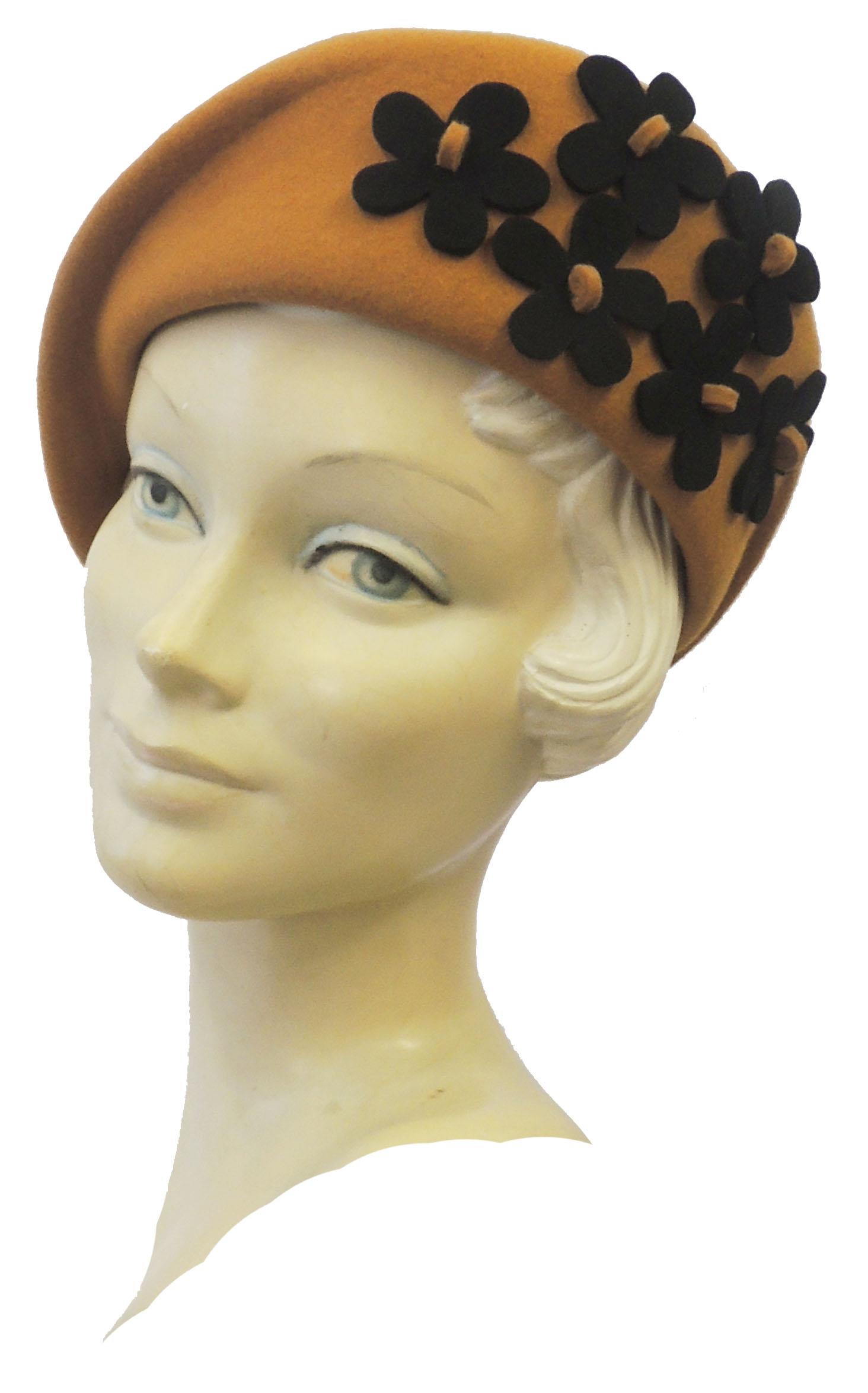 1940s Style Hats 1930's 40's Landgirl WW2 Wartime Felt Flower Cloche Hat $32.99 AT vintagedancer.com